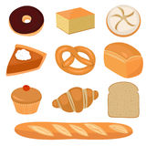 Bread and pastry clip-art. On white Stock Photos
