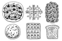 Bread and pastry donut, Belgian waffles and fruit pie. cupcake and sweet bun or pretzel and toasts. engraved hand drawn. In old sketch and vintage style for Stock Image