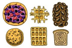 Bread and pastry donut, Belgian waffles and fruit pie. cupcake and sweet bun or pretzel and toasts. engraved hand drawn Stock Image