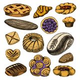 Bread and pastry donut Belgian waffles and fruit pie. sweet bun or croissant, muffin and toasts. engraved hand drawn in Stock Photography