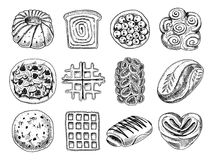 Bread and pastry donut Belgian waffles and fruit pie. sweet bun or croissant, muffin and toasts. engraved hand drawn in Royalty Free Stock Photo