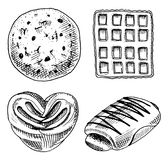 Bread and pastry donut, Belgian waffles and sweet bun or croissant and toasts. engraved hand drawn in old sketch and Royalty Free Stock Photography
