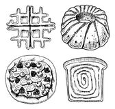 Bread and pastry donut, Belgian waffles and sweet bun or fruit pie and toasts and charlotte. engraved hand drawn in old. Sketch and vintage style for label and Royalty Free Stock Photo