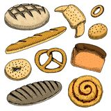 Bread and pastry donut, long loaf, baguette and cupcake Royalty Free Stock Photo