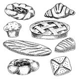 Bread and pastry donut, long loaf and fruit pie. cupcake and sweet bun or croissant, chocolate muffin. engraved hand. Drawn in old sketch and vintage style for stock illustration