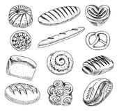 Bread and pastry donut, long loaf and fruit pie. sweet bun or croissant, bagels and toasts. engraved hand drawn in old. Sketch and vintage style for label and Royalty Free Stock Image