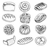 Bread and pastry donut, long loaf and fruit pie. sweet bun or croissant, bagels and toasts. engraved hand drawn in old. Sketch and vintage style for label and Stock Photo