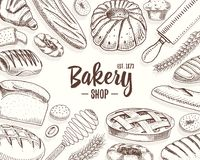 Bread and pastry donut long loaf and fruit pie. sweet bun or croissant, muffin and toasts. engraved hand drawn in old. Sketch and vintage style for label and Stock Images