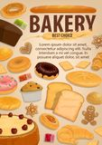Bread and pastry food, bakery, desserts. Bakery pastry food, baked desserts and sweets. Vector bread and pie cake, baguette and pita, bun and cupcake. Donut and royalty free illustration