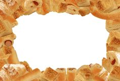 Bread and pastry frame. 3:2 format landscape frame of different bread and pastry goods without any drop shadows isolated on white Stock Photo