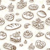 Bread and pastry seamless pattern in brown color. Bread and pastry sketch seamless pattern. Food background Royalty Free Stock Photo
