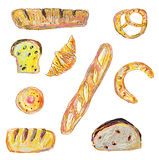 Bread and pastry set for the bakery in sketchy style Stock Image
