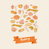 Bread and pastry. Set of elements Royalty Free Stock Images