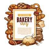 Bread and pastry sketch frame for bakery banner. Fresh bread and pastry sketch banner for bakery shop template. Loaf of wheat and rye bread, sweet bun and cake vector illustration