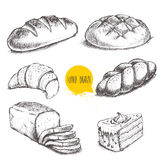 Bread and pastry sweets on white background. Vintage hand drawn sketch style bakery set. Bread and pastry sweets on white background Stock Photography
