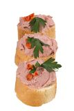 Bread with pate and herbs on a white background Stock Photo