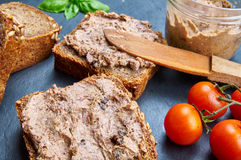 Bread with pate. On a stone board Royalty Free Stock Photos