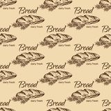 Bread  pattern. Vintage bakery sketch style seamless pattern. Set of fresh bread. Hand drawn illustration of bread  and bakery product. Bakery hand drawn Royalty Free Stock Photography