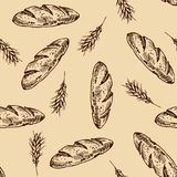Bread  pattern. Vintage bakery sketch style seamless pattern. Set of fresh bread. Hand drawn illustration of bread  and bakery product. Bakery hand drawn Royalty Free Stock Images