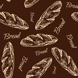 Bread  pattern. Vintage bakery sketch style seamless pattern. Set of fresh bread. Hand drawn illustration of bread  and bakery product. Bakery hand drawn Royalty Free Stock Photos