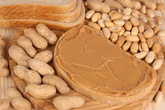 Bread with peanut butter royalty free stock photos