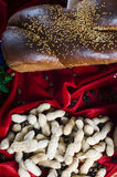 Bread and peanuts Stock Image