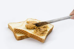 Bread with peanuts jam Stock Image