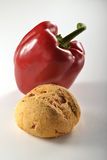 Bread and pepper_1.jpg. Bread and pepper on white background Stock Photo