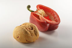Bread and pepper_4. Bread and pepper on white background Royalty Free Stock Photos