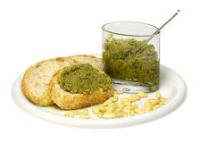 Bread and pesto sauce Stock Photos