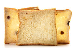 Bread. The piece of delicious bread on white background Stock Photos