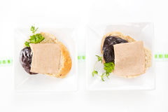 Bread pieces with pate. Stock Image