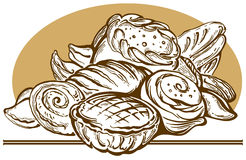 Bread and pies. Beautiful illustration with excellent bread, biscuits, pies vector illustration