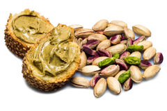 Bread with pistachio cream isolated stock images