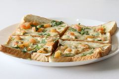 Bread pizza Breakfast in a plate with white background