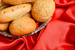 Bread placed in a metal basket Royalty Free Stock Photo
