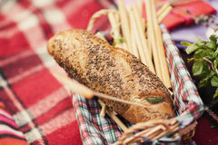 Bread on plaid Royalty Free Stock Photography