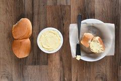 Bread Plate Butter Crock Rolls Stock Image