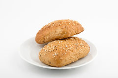 Bread on a plate. Homemade bread on a plate. Front view. Selektive focus Royalty Free Stock Photo