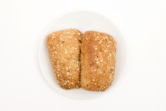 Bread on a plate. Homemade bread on a plate. Top view. Selektive focus Stock Images