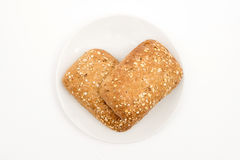 Bread on a plate. Homemade bread on a plate. Top view. Selektive focus Stock Photography