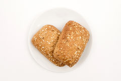 Bread on a plate. Homemade bread on a plate. Topt view. Selektive focus Royalty Free Stock Photos