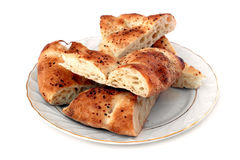 Bread plate with sliced pitas Stock Photography