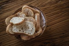 Bread Plate on Wooden Table Stock Photography