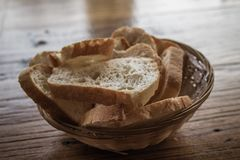 Bread Plate on Wooden Table Royalty Free Stock Photos