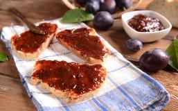 Bread with plum jam Royalty Free Stock Photo