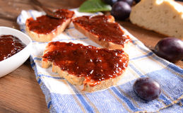 Bread with plum jam Royalty Free Stock Image