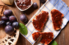 Bread with plum jam Royalty Free Stock Photography