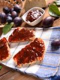 Bread with plum jam Stock Photography