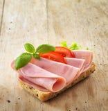 Bread with pork ham. Bread with sliced pork ham Stock Photos